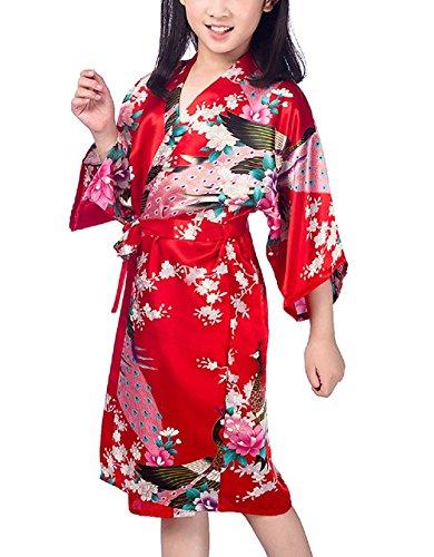 Hammia Niños Niñas Kimono Seda Flores Satén Kimono
