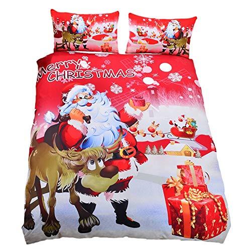 JSDJSUIT Bettwäsche-Set Frohe Weihnachten Weihnachtsmann und Elch Gedruckt Tröster Bettwäsche Set König Königin Twin Bettbezug Red Sheet Sets Weihnachten, AU König 3 stücke -
