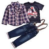 Le SSara Garçons Cool longue chemise à carreaux manches & T-shirt & salopettes tenues 3pcs (2-3 ans)