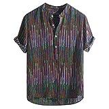 ⚡Herren Tops, Sumeiwilly T-Shirt Sommer Mens Ethnic Printed Stehkragen Bunte Streifen Kurzarm Loose Henley Shirt Lässiges Weste Vest T Shirts Top Tanktop Bluse Tee t Shirts