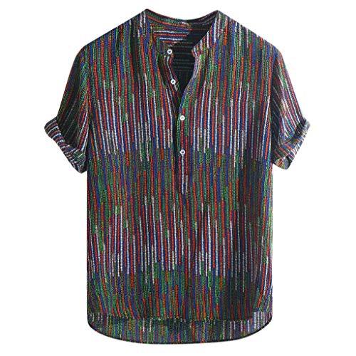 ⚡Herren Tops, Sumeiwilly T-Shirt Sommer Mens Ethnic Printed Stehkragen Bunte Streifen Kurzarm Loose Henley Shirt Lässiges Weste Vest T Shirts Top Tanktop Bluse Tee t Shirts -