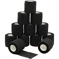 YuMai 12 Rolls - Vendaje Elástico adherente Wrap cinta 5cm, Self Adhering Stick de compresión para vendaje una herida tobillo apoyo o médico supplies - Negra