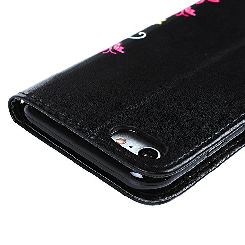 Coque Iphone 7 Iphone 7G 4.7 puce, Housse Etui TPU cuir Protection Complet de Téléphone Personnalisé pour Iphone 7 Iphone 7G avec un Bouton Phone Case Coque avec Anti Rayure Antichoc Fleur Papillons C Noir