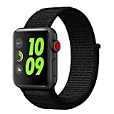 #4: Vati Watch Sport Loop Band Velcro, Hook and Loop Fastener Adjustable Closure Wrist Lightweight Breathable Nylon Replacement Band for Apple Watch Nike+, Series 3/2/1, Sport, Edition (42MM, Dark Black)