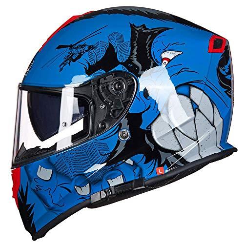 Exklusive Anpassung Comfort Tank Helm Herren Und Damen Motorradhelm Full Cover Four Seasons Integralhelm Anti-Fog Doppelscheiben Motorradhelm Monster Blue Sicheres Fahren (Size : M) -