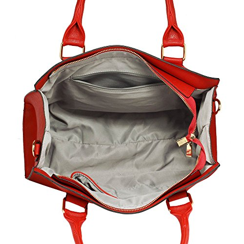 TrendStar Damen Der Frauen-Handtasche Umhängetaschen Konstrukteur Mode Promi-Stil Kunstleder D - Rot