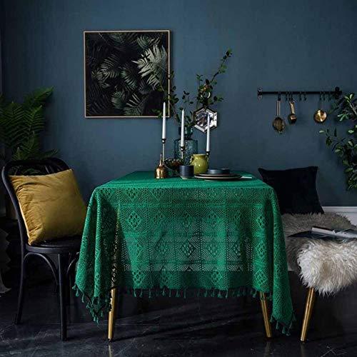 Kdyi Tischdecke Dunkelgrün Vintage Handarbeit Häkeln Gestrickte Runde Tischdecke Hohl Kunst Dekoration Wohnzimmer Tischdecke, Grün -