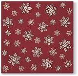 20 Cocktail-Servietten Überall Schneeflocken und Sterne rot / Weihnachten 25x25cm