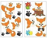 plot4u 17-Teiliges Süße Füchse Wandtattoo Set Kinderzimmer Babyzimmer in 5 Größen (2x16x26cm Mehrfarbig)