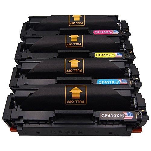 Preisvergleich Produktbild Toner Kingdom 4 pack Kompatibel HP 410X CF410X CF411X CF412X CF413X Tonerpatronen Für HP Color LaserJet Pro MFP M477fdn M477fdw M477fnw M452dn M452dw M452nw M377dw (1 Schwarz, 1 Cyan, 1 Gelb,1 Magenta)
