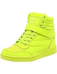 0897b2b47826 Mauea Basket Montante Compensee Femme Cuir Scratch Lacets Sneakers  Chaussures Décontractées Sport Confort