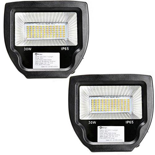 2 Stü DM Spot LED Fluter Außen Strahler SMD 2835 LED Flutlichtstrahler W in kaltweiß (6000-6500K) Scheinwerfer Außenstahler Flutlicht Spotlight 30W wie 300W Leuchtkraft von Halogenleuchtmittel IP65 Wasserdicht LED Arbeitsleuchten 230V
