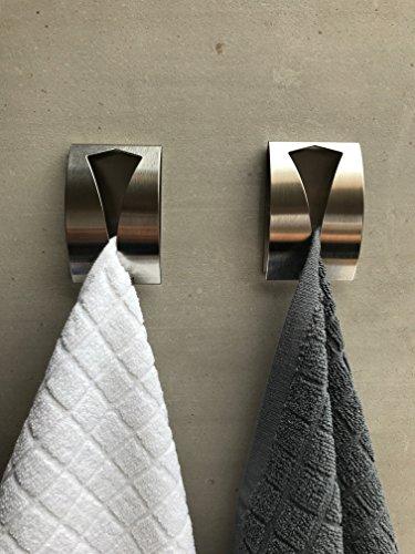 be fancy! 2 Premium Bad Haken aus Edelstahl - Handtuchhalter für Bad, Küche - ohne Bohren Handtuchhaken, Geschirrtuchhalter Hannah - 7,5 cm x 5 cm x 2 cm im Set
