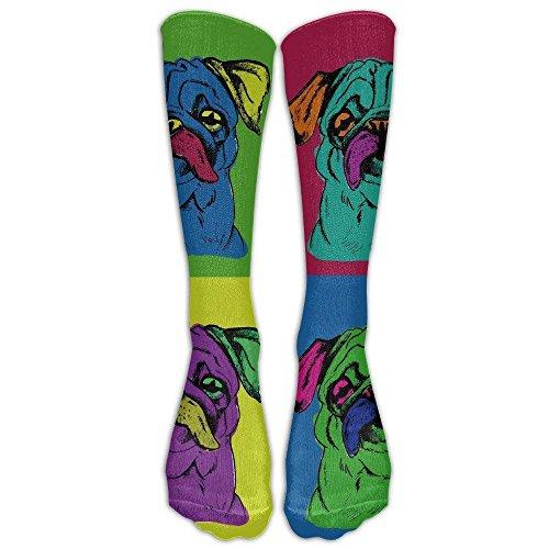 Daisylove Sportstrümpfe, bunt, Mops, für Damen, Herren, klassisch, kniehoch, Sportsocken, Lange Socken, Einheitsgröße - Rosa Mops Stiefel