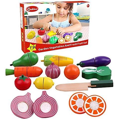 Happy Cherry Juguetes Educativos Cortar Frutas Verduras con Accesorio Juegos de Madera para Niños Niñas