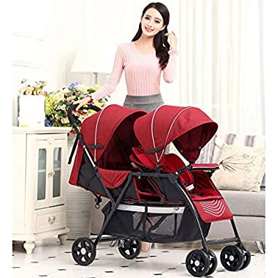 Cochecito gemelos plegable Sillas de paseo gemelar dúo twin color gris aprobado desde 0 mois à 36 mois (Gris, Rojo)