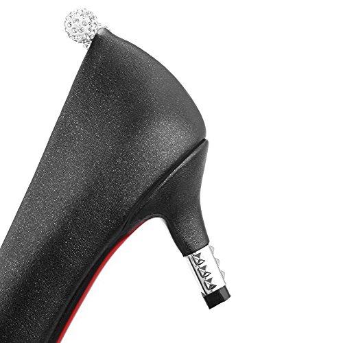 VogueZone009 Femme Tire à Talon Correct Pu Cuir Mosaïque Pointu Chaussures Légeres Noir
