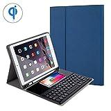 KOBWA Bluetooth-Tastatur Fall iPad 24,6cm 2018/2017, iPad Air/Air 2, iPad Pro 9,7, superdünn Abnehmbare Wireless Tastatur Schutzhülle mit integrierter kabelloser Ladefunktion/Ständer/Pencil Holder