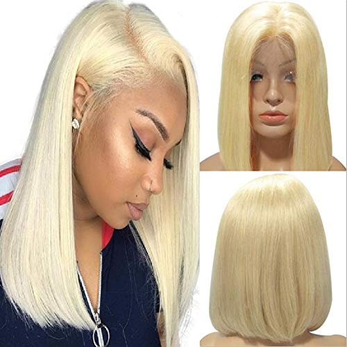 Best Hair Color-highlights (Human Lace Front Wig Blond Bob Wig Middle Part 180% Density Full-head Lace Front Wig Preplucked Adjustable Cap(10nch,Bleach Blond))