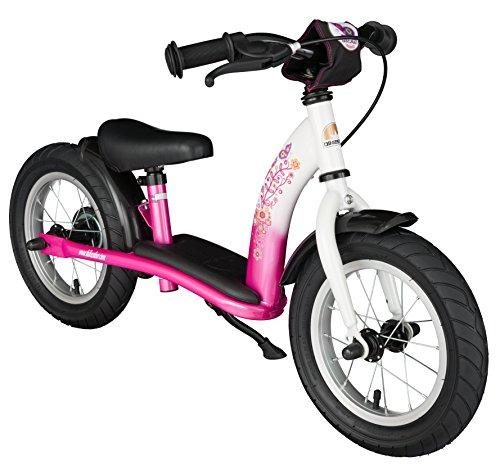 Bikestar Vélo Draisienne Enfants pour Garcons et Filles DE 2-3 Ans ★ Vélo sans pédales évolutive 12 Pouces Classique ★ Rose & Blanc