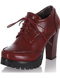 NJX  hug Chaussures Femme - Bureau   Travail   Habillé   Décontracté - Noir    Marron   Bordeaux - Gros Talon - Bout… 5b3d331e8cf0