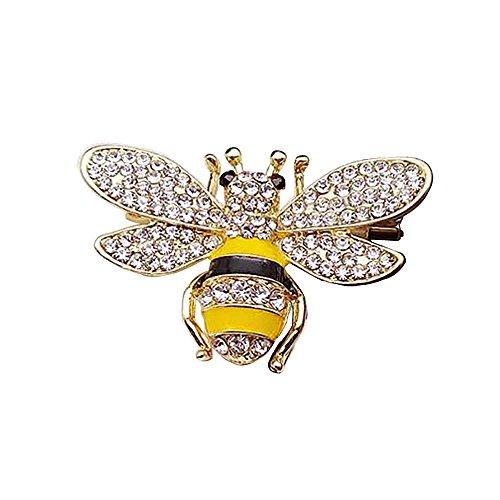 e für Männer Bienenstift Smoking Anzug Brosche glänzenden Kristalledelstein Hemd Ehrennadel Schalkragen (Haut Anzug Smoking)