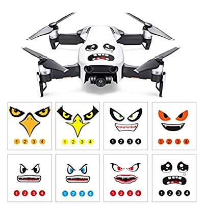 Momola 8Pcs Art Eagle Smile Emoji Shark Sticker Decal Eyes Skin Quadcopter Drone Accessory Parts For DJI DJI Mavic Air/ MAVIC PRO/ DJI Phantom 3 / 4 series / SPARK / Wingsland S6 drone by Momola