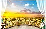 Wolipos 3D Wandmalerei Wand-Aufkleber Tapete Wandtattoo Photo Pastorale Landschaft Sonnenblumen Blumen Einstellung Balkon Hd Dekoration 200Cmx140Cm