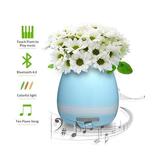 Maceta con Lámpara y MúSica, Sensible Al Tacto, con Bluetooth, Ideal para La Oficina, La Mesa de Noche, La Sala de Estar. No Incluye Planta - Azul