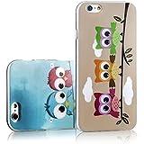 Sofort lieferbar tinxi® 2 Stücke Silikon Schutzhülle für Apple iPhone 6/6s 4.7 zoll Hülle Silicon Rückschale Cover Case Etui hellgrüne Eule sowie viele Eulen in blau