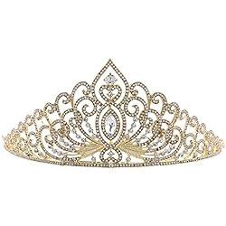 Da.Wa Mujeres Reina Corona Novia Hairband Pelo Adornos Accesorios De Boda Cumpleaños De La Corona - dorado