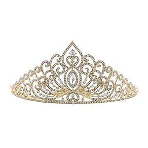 youkara Frauen Haarband Krone Braut Haarband Haar Ornaments Hochzeit Geburtstag Accessoires Golden
