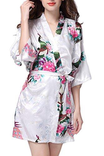 Kimono peignoirs lingerie de nuit en soie Satin Style court des femmes white