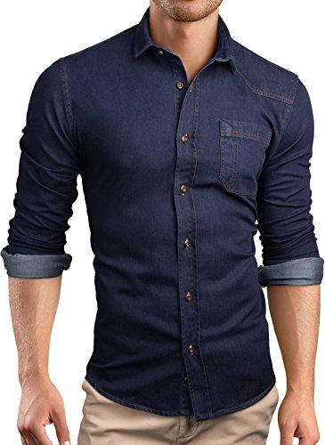 Grin&Bear custom Denim fit Hemd Shirt Herrenhemd Jeans, blau, M, SH591 (Denim Shirt)
