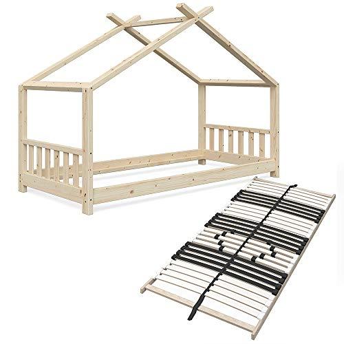 Vicco Kinderbett Hausbett Design 90x200cm Natur unbehandelt Kinder Bett Holz Haus Schlafen Hausbett Spielbett Inkl. 7 Zonen Premium Lattenrost (Bettgestell & Lattenrost)