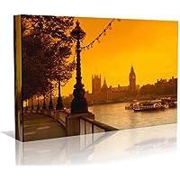Stampa artistica su tela, motivo: Il Tamigi di Londra, in stile contemporaneo, con cornice, pronta da appendere, dimensioni: 50,80 cm x 76,20 cm
