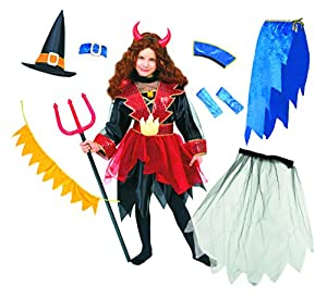 Carnaval - Disfraz de diablesa para niña, talla 6-8 años