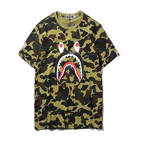 0c3e6a9a8d70 mich Bape AAPE Shark Camo Cotton Crewneck T-Shirt For Men Women