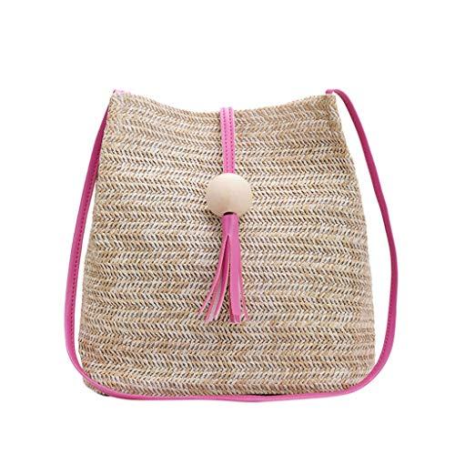 Mitlfuny handbemalte Ledertasche, Schultertasche, Geschenk, Handgefertigte Tasche,Mode Damen Sommer Stroh Quaste Holz Ball Wilde Schultertasche Strand Casual Bag