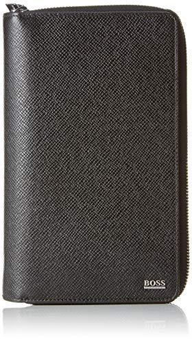 Signature Damen Leder Tasche (BOSS Herren Signature_d Zip Trav Geldbörse, Schwarz, 4x21x13 cm)