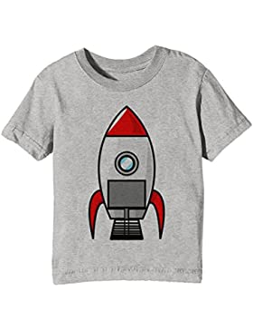 Cohete Niños Unisexo Niño Niña Camiseta Cuello Redondo Gris Manga Corta Todos Los Tamaños Kids Unisex Boys Girls...