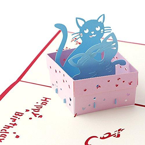 (Dairyshop 3D Katze POP UP Grußkarten Geburtstag Weihnachten Geschenk Karten)