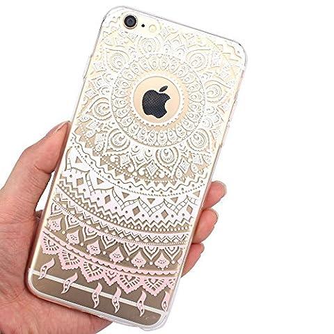 Aprtwin Étui transparent en TPU silicone pour Apple iPhone 6 / 6S en rose clair blanc transparent Mandala design soleil indien