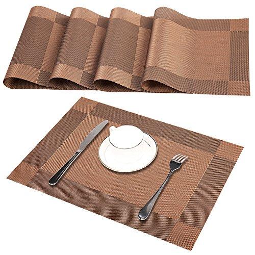 Platzsets (4er Set), Rutschfest Abwaschbar Tischsets, PVC Abgrifffeste Hitzebeständig Platzdeckchen, Schmutzabweisend und Waschbare, Platz-Matten für küche Speisetisch, Braun 30x45cm Test