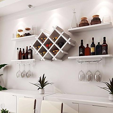 White Wall Mount Wine Rack Bottle Holder Champagne Glass Storage