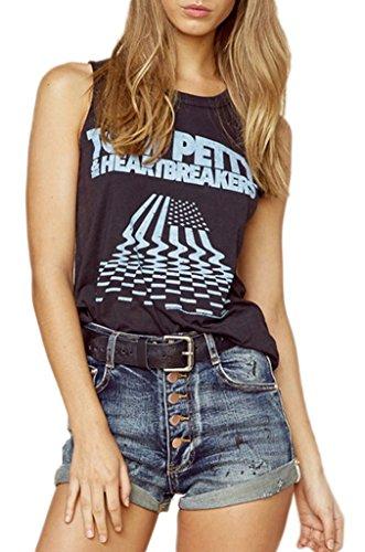 Smile YKK Femme T-Shirt Peplum Motif Débardeur Loose Tops Gilet Slim Imprimé Noir