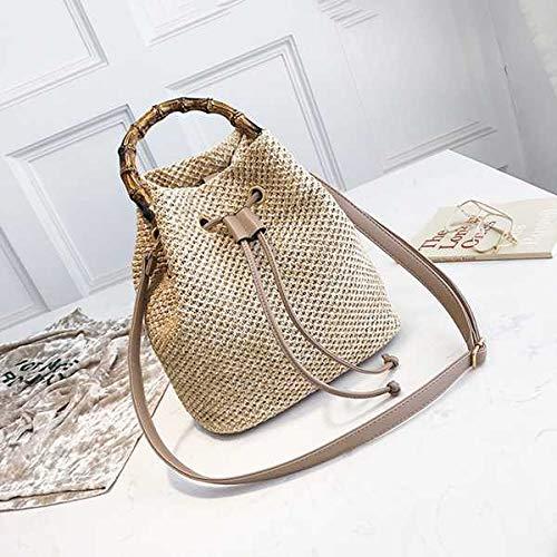 CBSTBLLL Drawstring Womens Stroh Eimer Tasche Sommer gewebt Umhängetaschen Shopping Geldbörse Strand Handtasche Stroh Handtaschen Reisetasche Tote