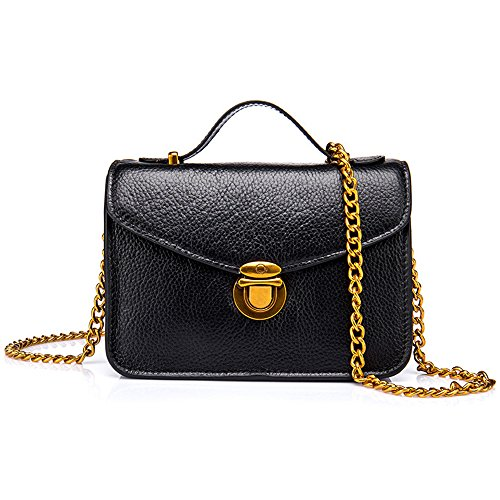 Damen Mädchen Leder Mode Sperren Grosse Kapazität Messenger Bag Metallkette Schwarz Handtasche Brieftasche (Taschen Steigen Denim)