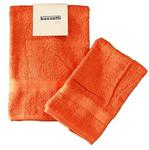 Set coppia 2 pezzi 1+1 ospite 40 x 60 + asciugamano 60 x 110 bassetti time asciugamani 100% spugna di puro cotone pettinato 430 gr/sqm (arancio 1920)