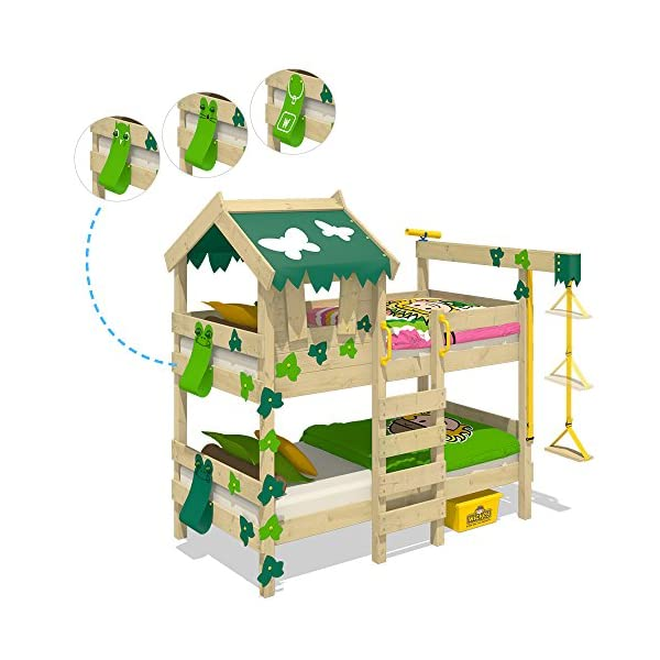 WICKEY Bunk Bed Crazy Ivy Play Bed for 2 Children Loft Bed with roof, Climbing Ladder and slatted Bed Base, Green-applegreen Wickey Fabulous bunk beds for boys and girls - Quality and safety tested - CrAzY roof and climbing ladder Natural and untreated wood - Solid wooden boards 18x120mm - Solid standing beams 58x58mm Mattress surface 200 x 90 x 12cm - Mirrored assembly possible - Detailed assembly instructions 3
